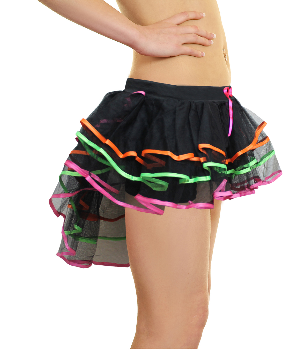 Crazy Chick 3 Layers Multicolour Burlesque TuTu Skirt With Multi Trim