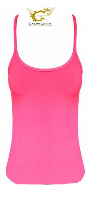 Microfiber Neon Pink Crazy Chick Girls Vest Top