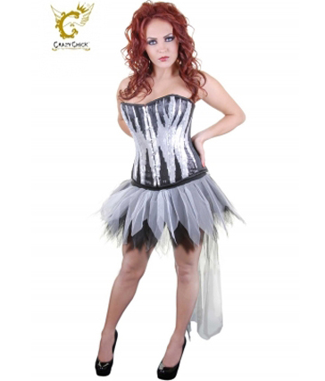 Crazy Chick 6 Layers Long Tail Black/White Petal Zombie TuTu Skirt (With Bow & Tie)