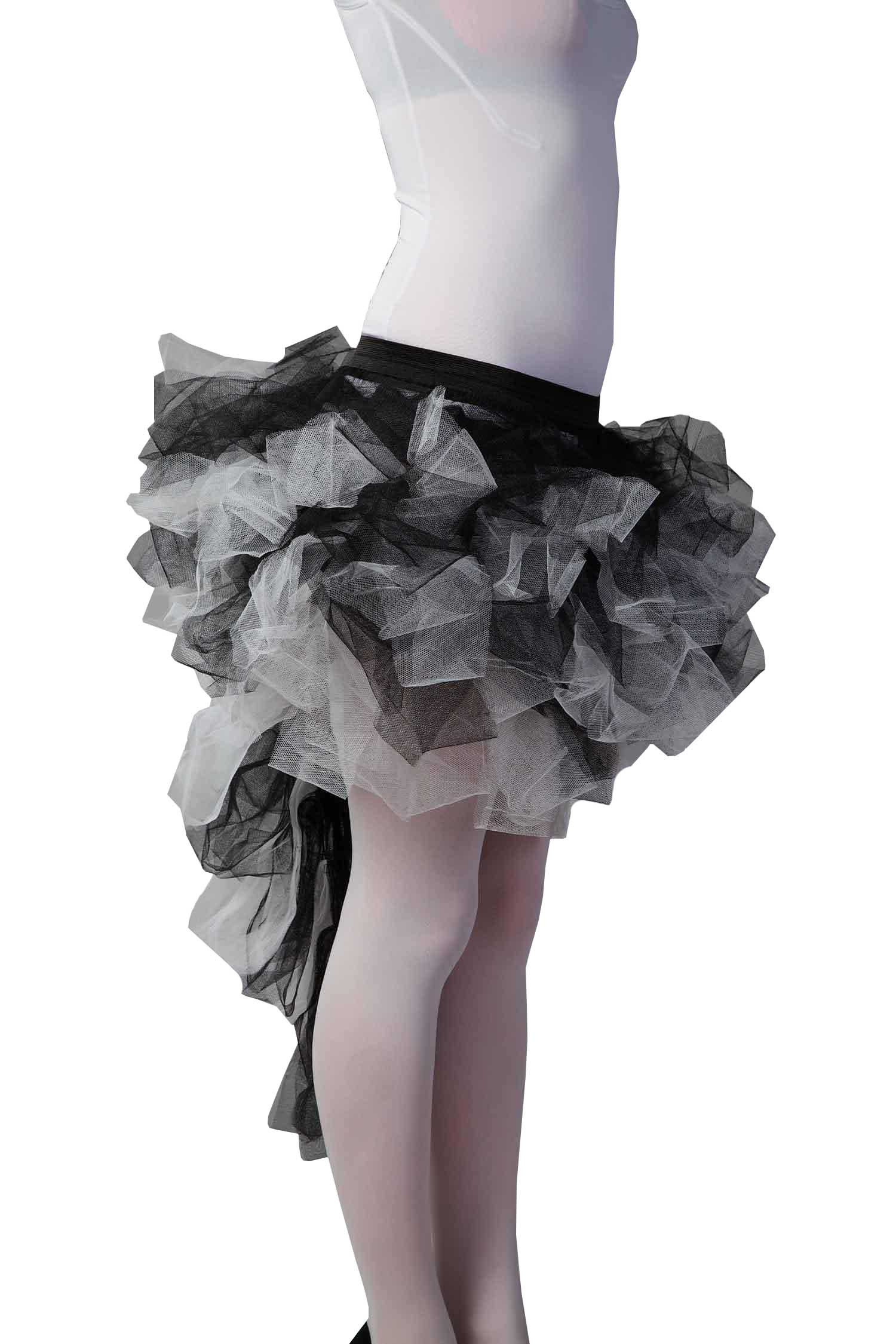 Crazy Chick Long Tail Burlesque Black And White Zombie TuTu Skirt
