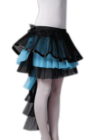 Crazy Chick Long Tail BlackTurquoise Burlesque TuTu Skirt