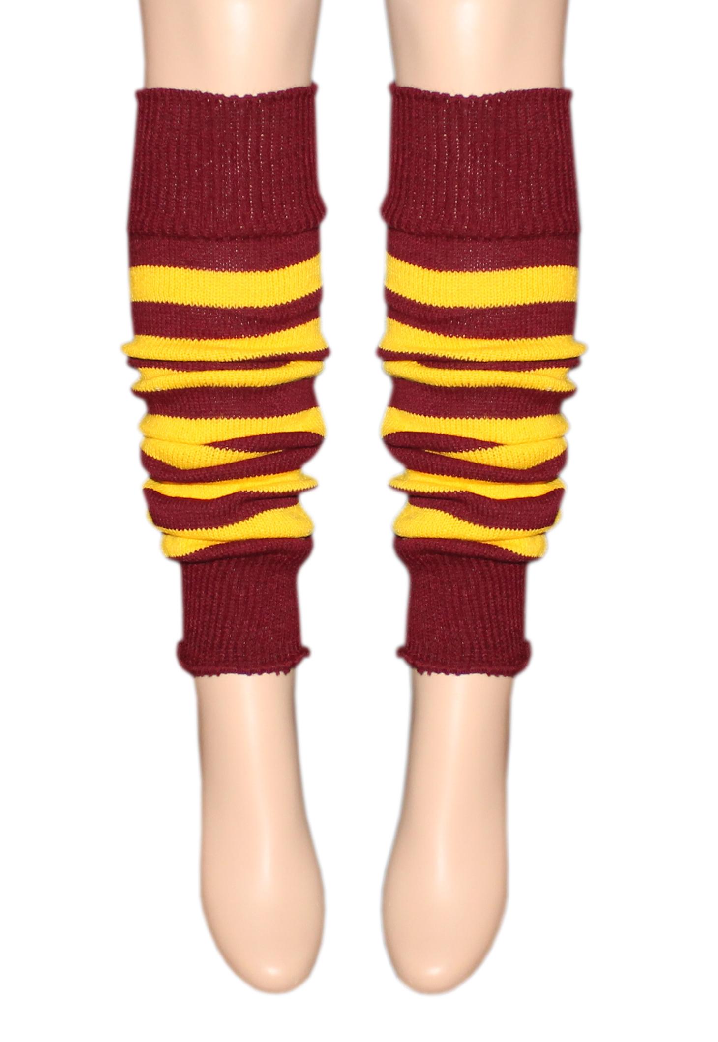 Crazy Chick Maroon Yellow Stripe Leg Warmer