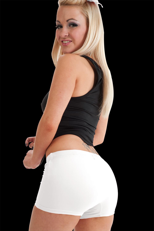 Crazy Chick Microfiber White Hot Pants