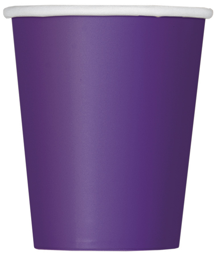Deep Purple Plain Cups 9 Oz (Pack of 14)