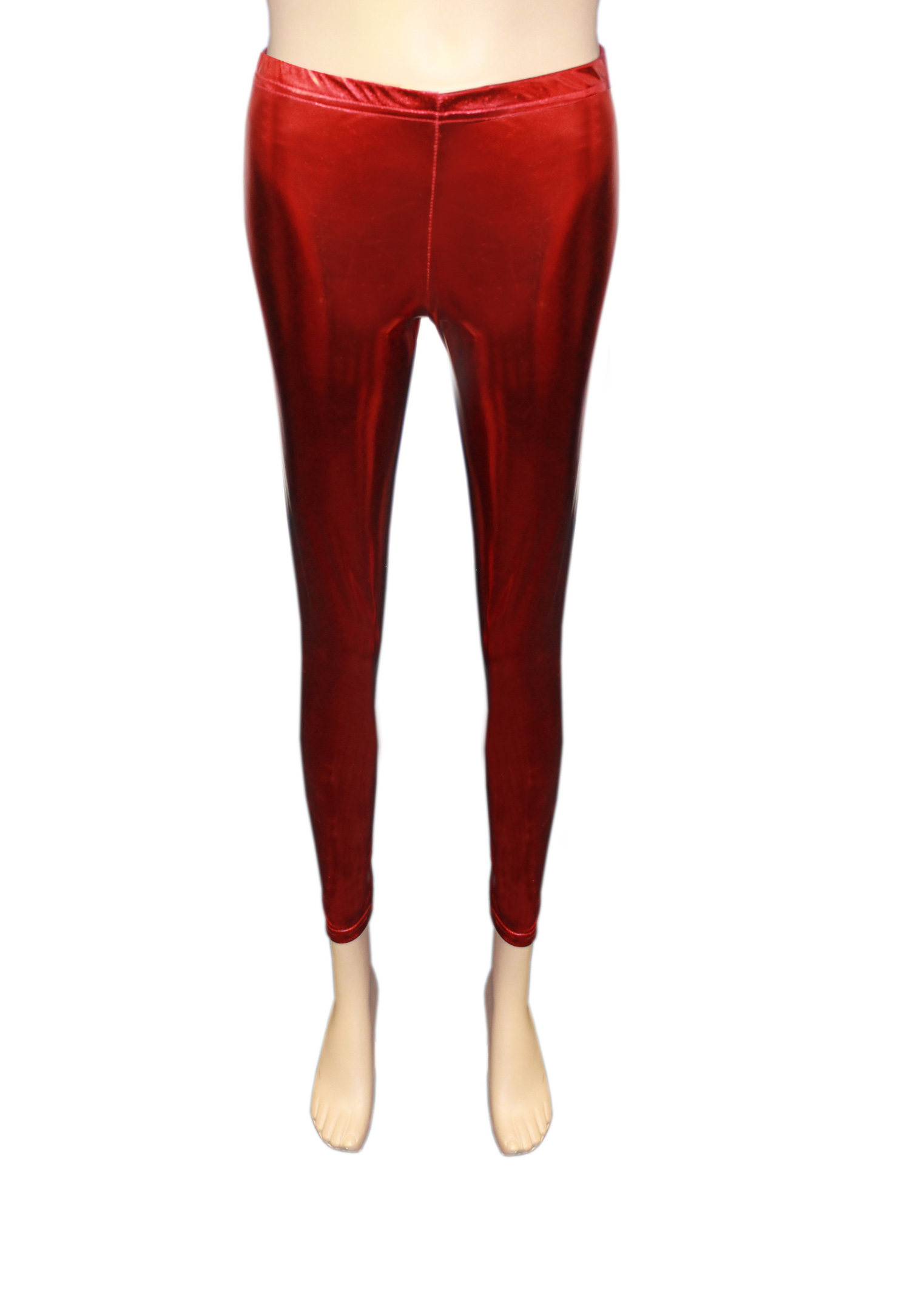 Girls Shiny Metallic Red Leggings