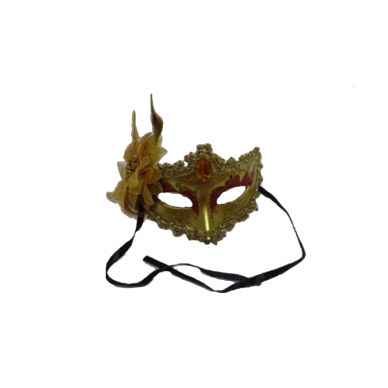 Gold Face Mask with Flower