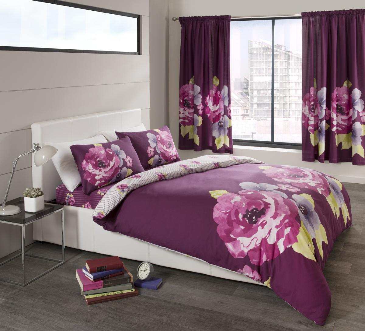 grace printed curtain set aubergine. Black Bedroom Furniture Sets. Home Design Ideas