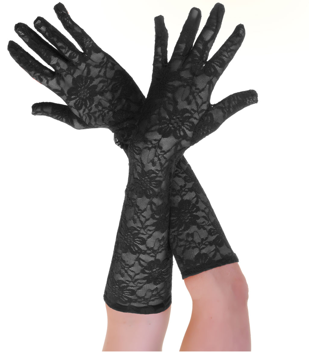 Long Lace Gloves Black