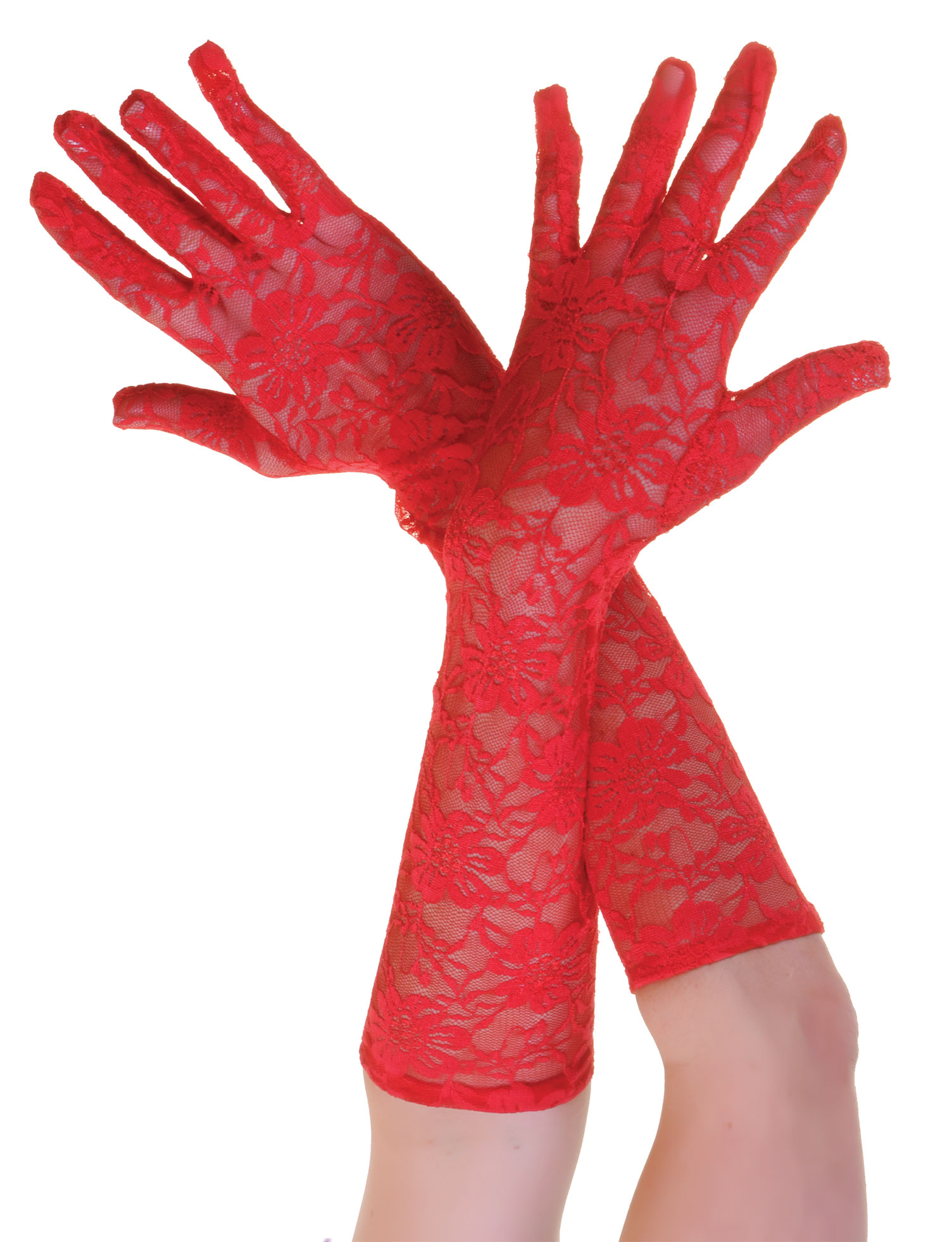 Long Lace Gloves Red