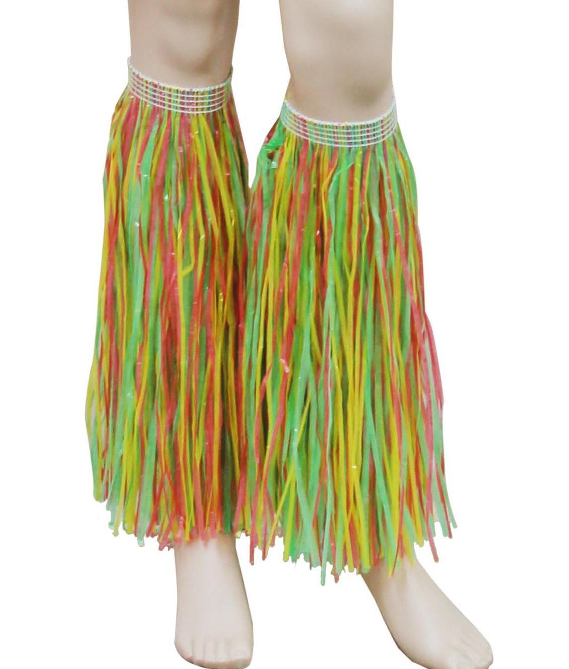 Multi Hawaiian Hula Straw Leg Cuffs