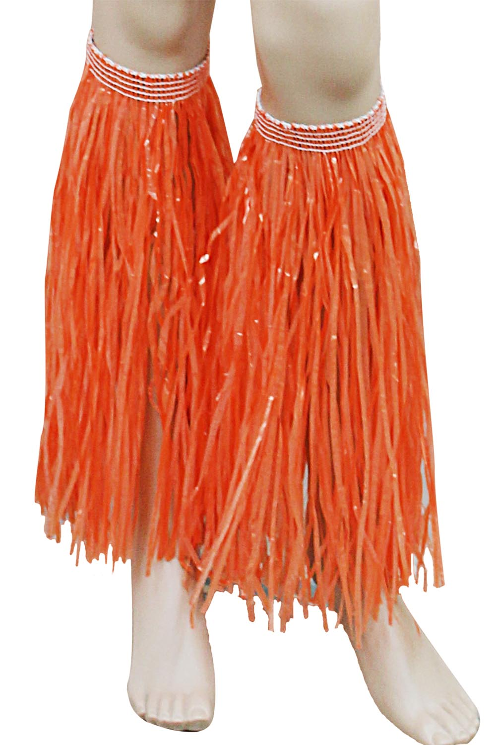 Orange Hawaiian Hula Straw Leg Cuffs