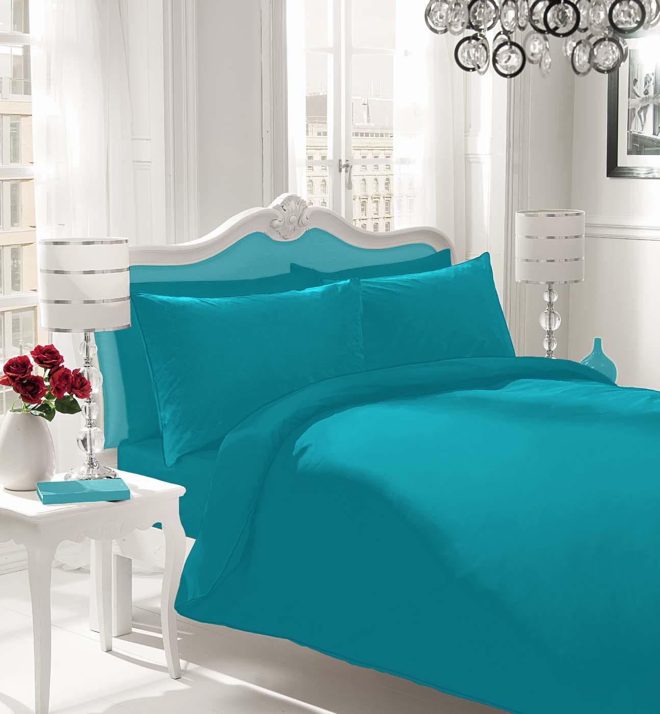 Gaveno Cavailia Non-Iron Percale Flat Sheet Polyester-Cotton Single - Teal