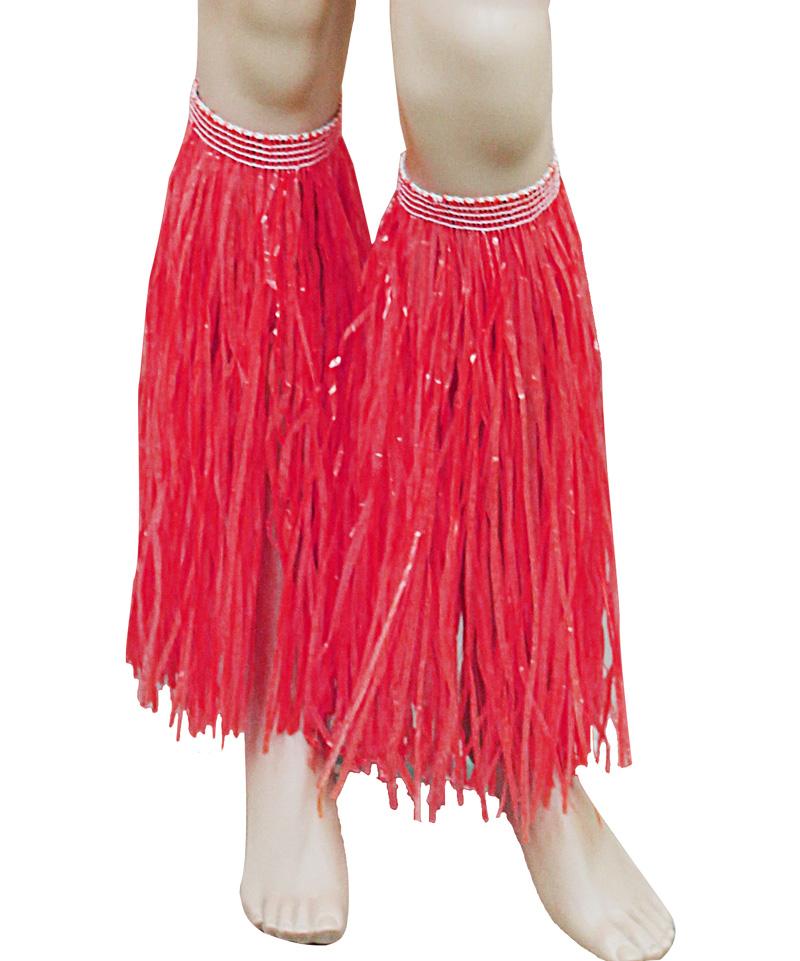 Red Hawaiian Hula Straw Leg Cuffs