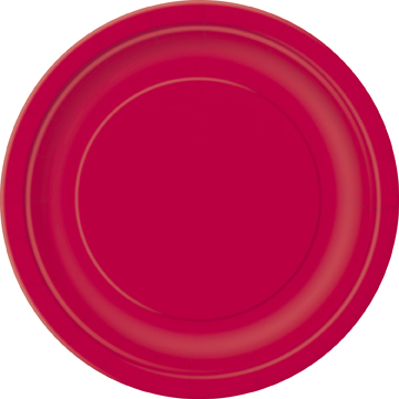 Ruby Red 9 Inches Plain Plates (Pack of 16)