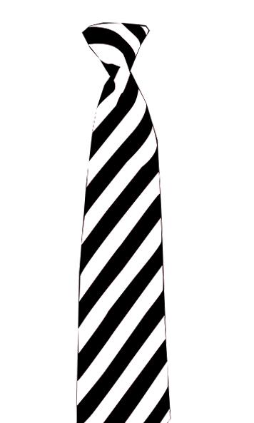 Satin Black/White Striped Neck Tie