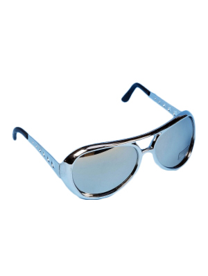 Silver Adult Glasses W/Mirror Lens