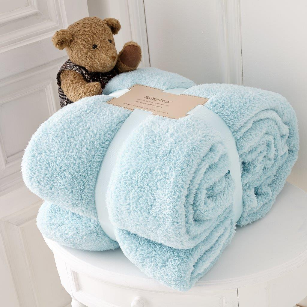 Teddy Collection Super Soft Throw-Duck Egg