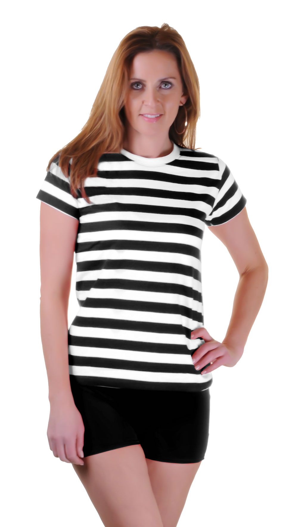 Hypernation Mix And Match Black And White Striped With Plain Black 3/4th Sleeves % Cotton Round Neck 3/4th Sleeves T-shirt For Women. Designed To Perfection And They Are So Perfect For The Summer, Ideal For Casual Wear And Regular Fit. This T-shirt Will Go Well With Trousers, Jean, Short And Shoes.