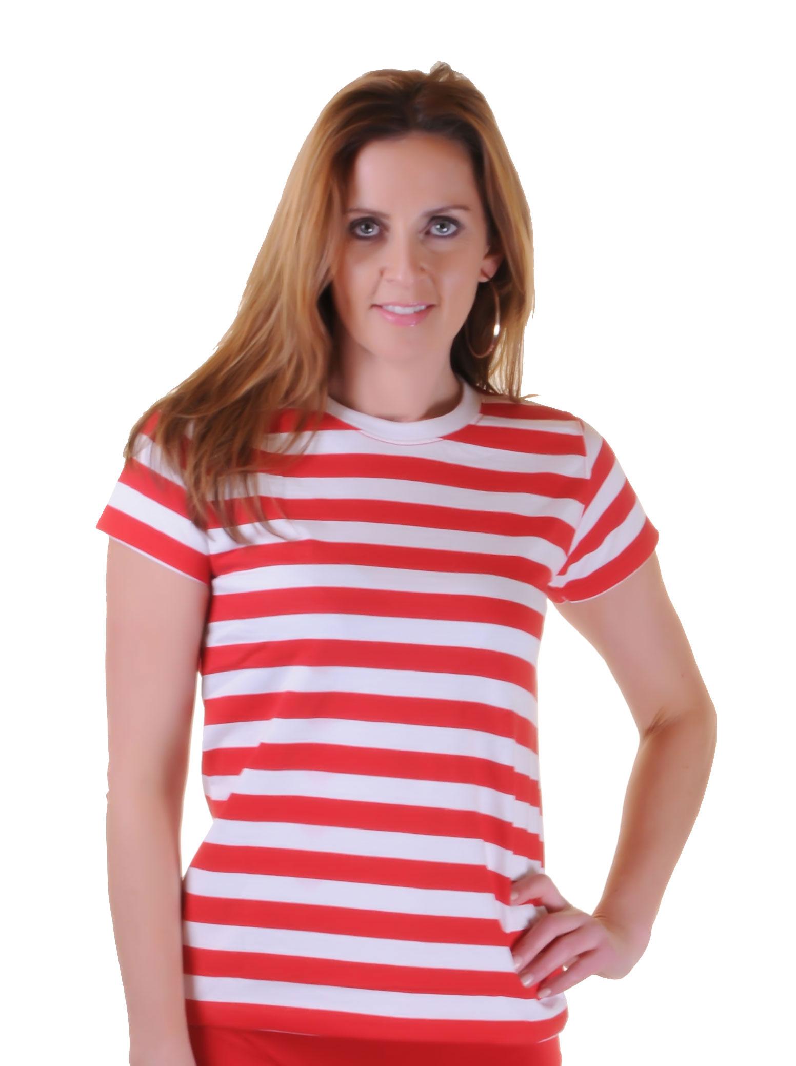 Women Red & White Stripe T-Shirt