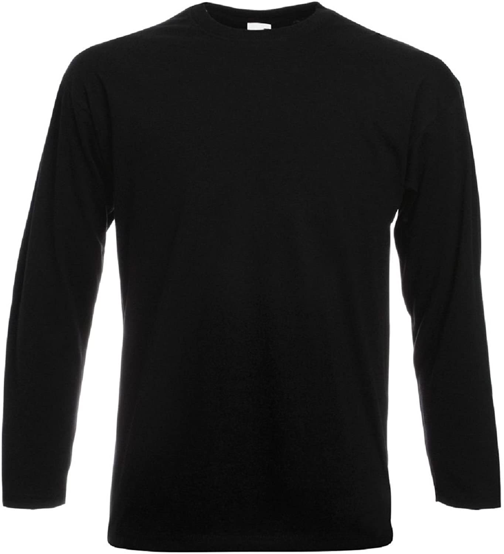 Adult Black Crew Neck Long Sleeve T-Shirt
