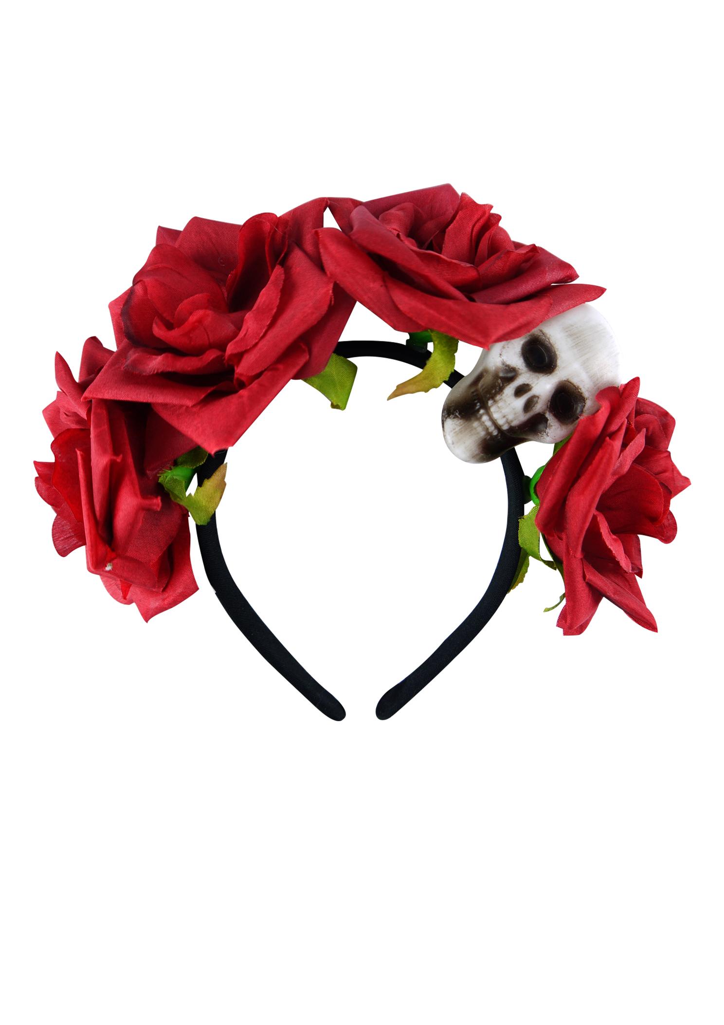 Adult Black Headband With Skull & Flower