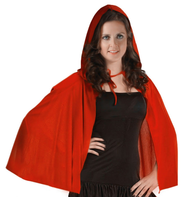 Adult Red Ridding Hooded Velvet Cape