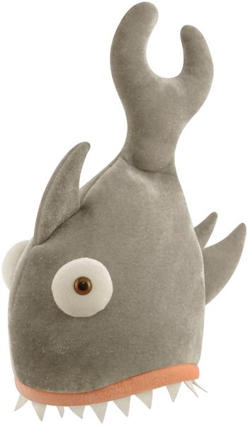 Adult Shark Bite Grey Hat 29 X 42cm