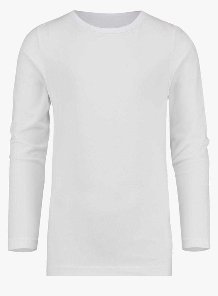 Adult White Crew Neck Long Sleeve T-Shirt