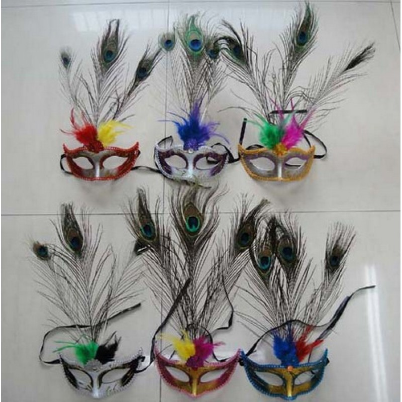 Assorted Masquerade Masks with Peacock Feather