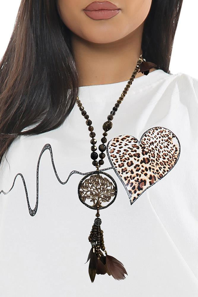 Beaded Tree Of Life Pendant Feather Necklace Brown