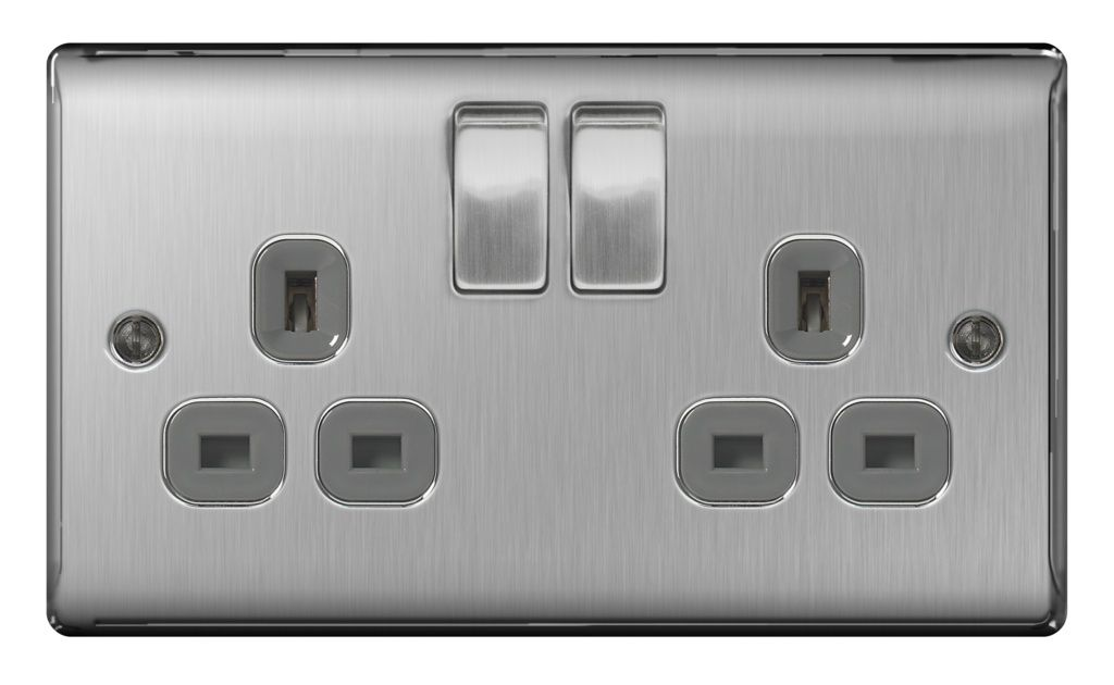BG 13a 2 Gang Switch Socket - Brushed Steel With Grey Inserts