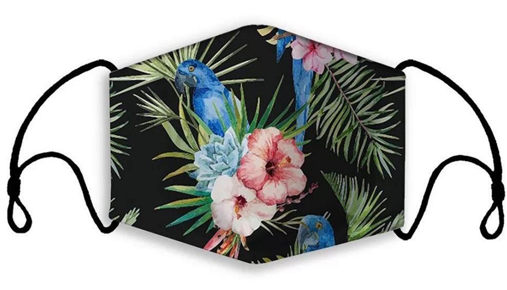 Bird Flower Print Face Mask With Filter Pocket