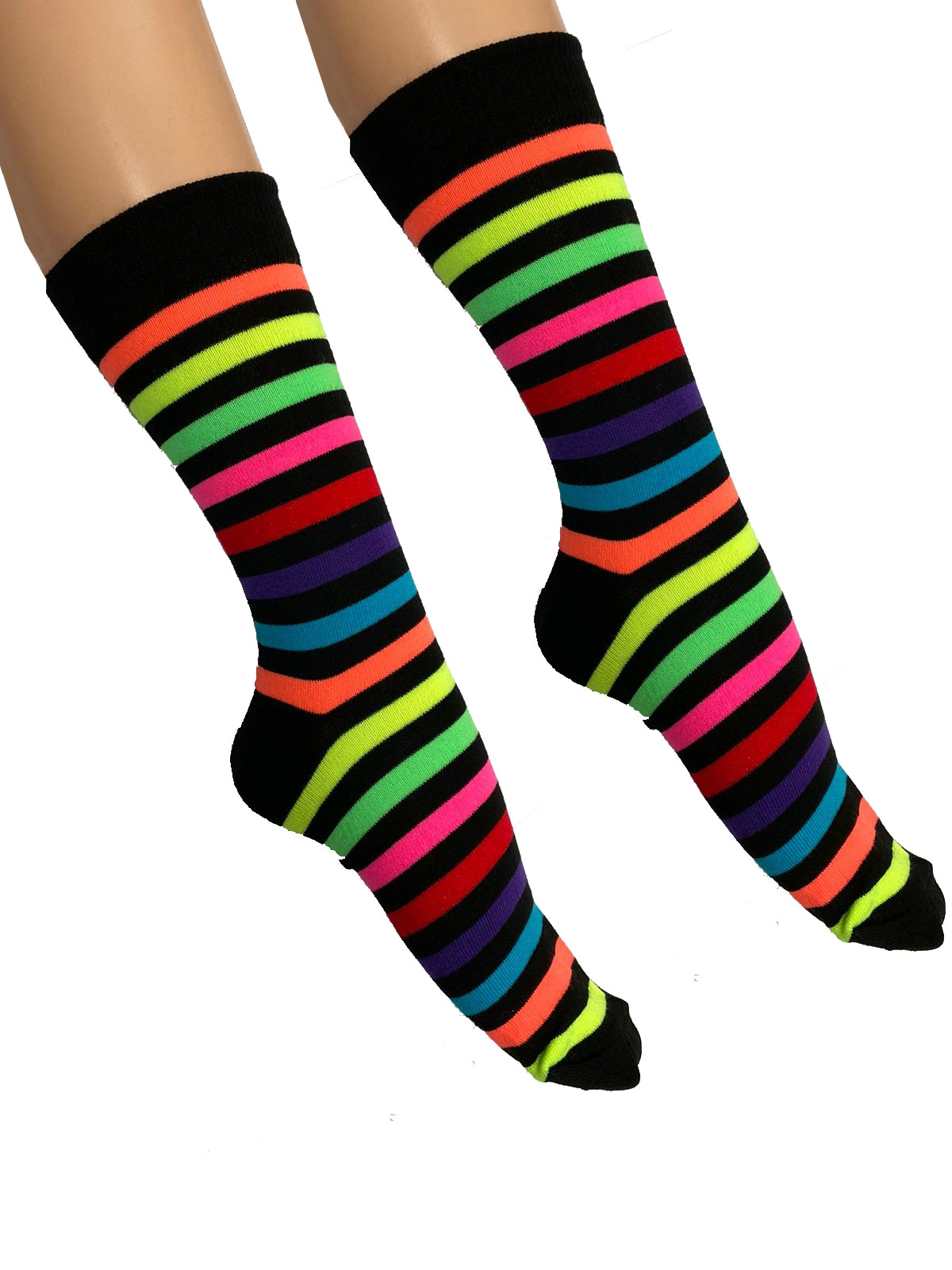 Mens Black and Rainbow Ankle High Socks(12 Pairs)