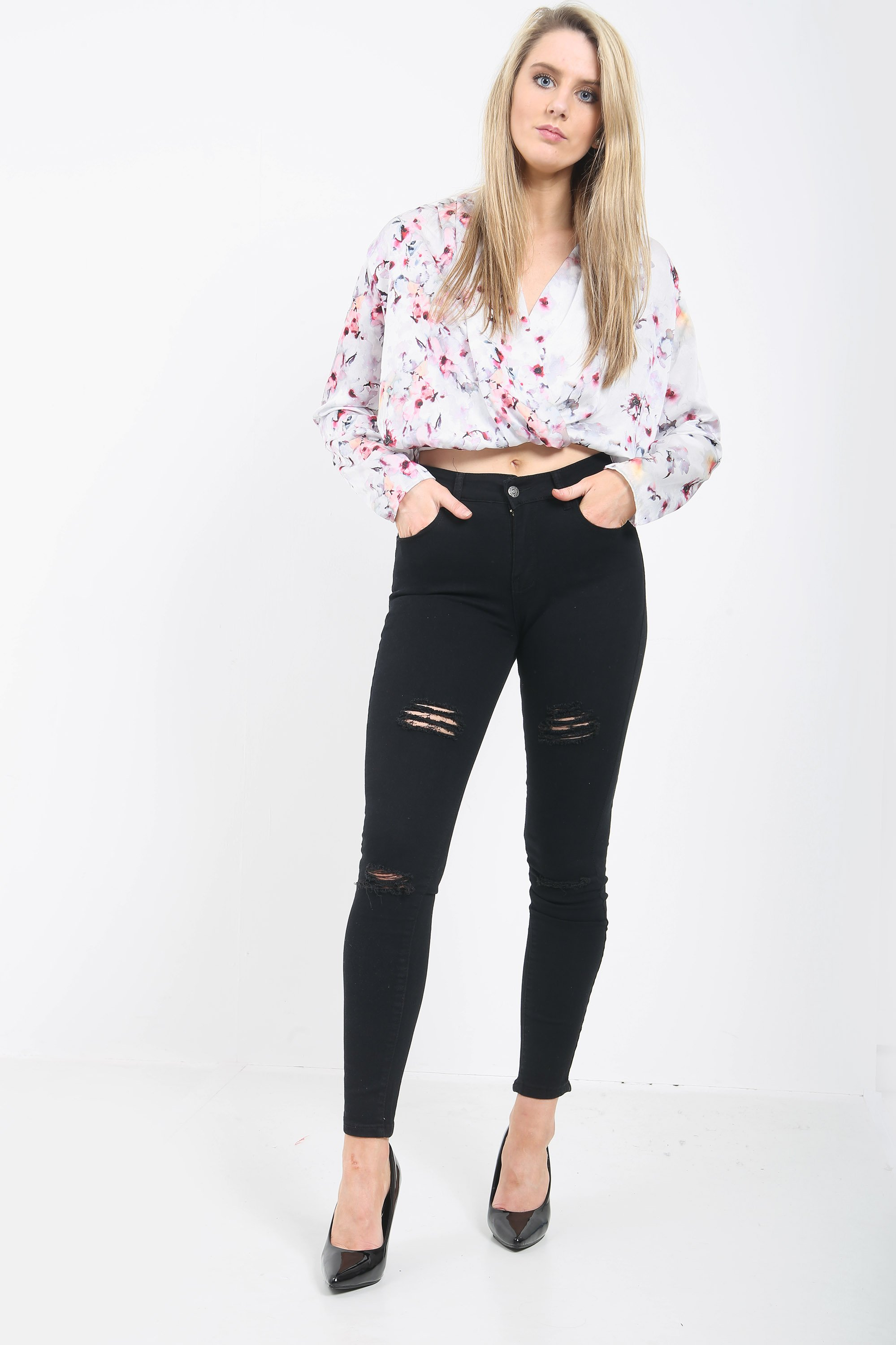 BLACK LADIES HIGH WAISTED JEANS WOMEN SKINNY JEANS