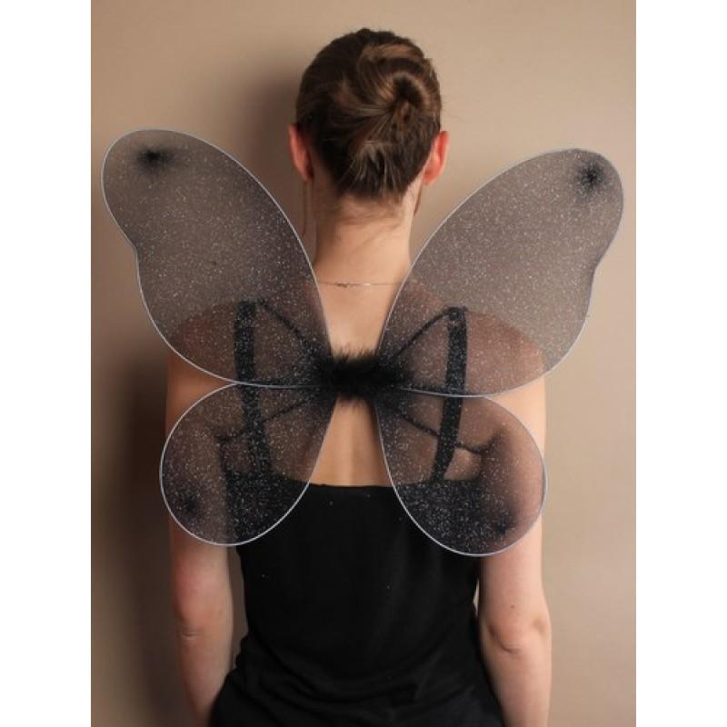 Black Net Fairy Wings with Silver Glitter.