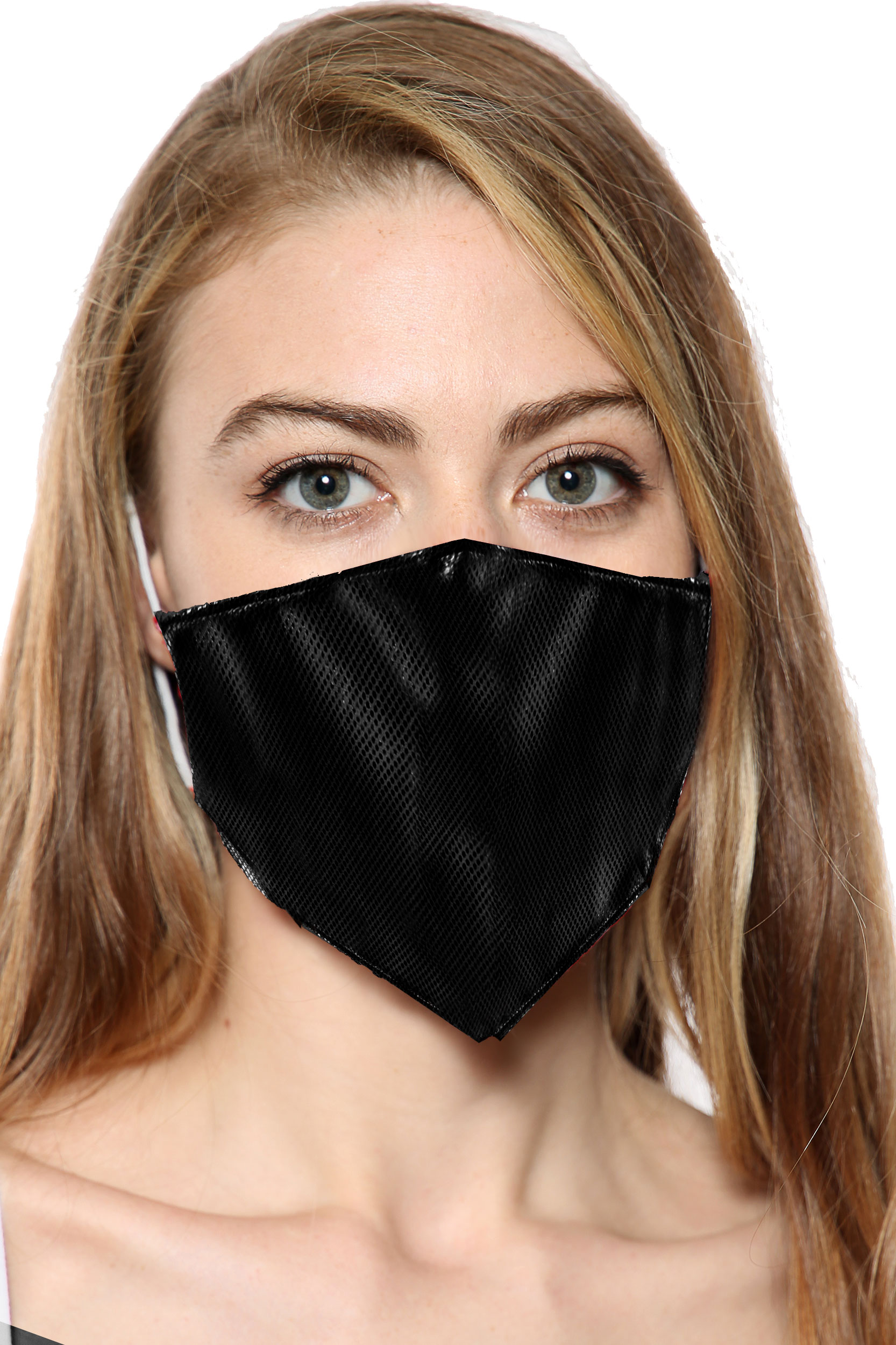 Black Rexene Print Face Mask With Filter Pocket