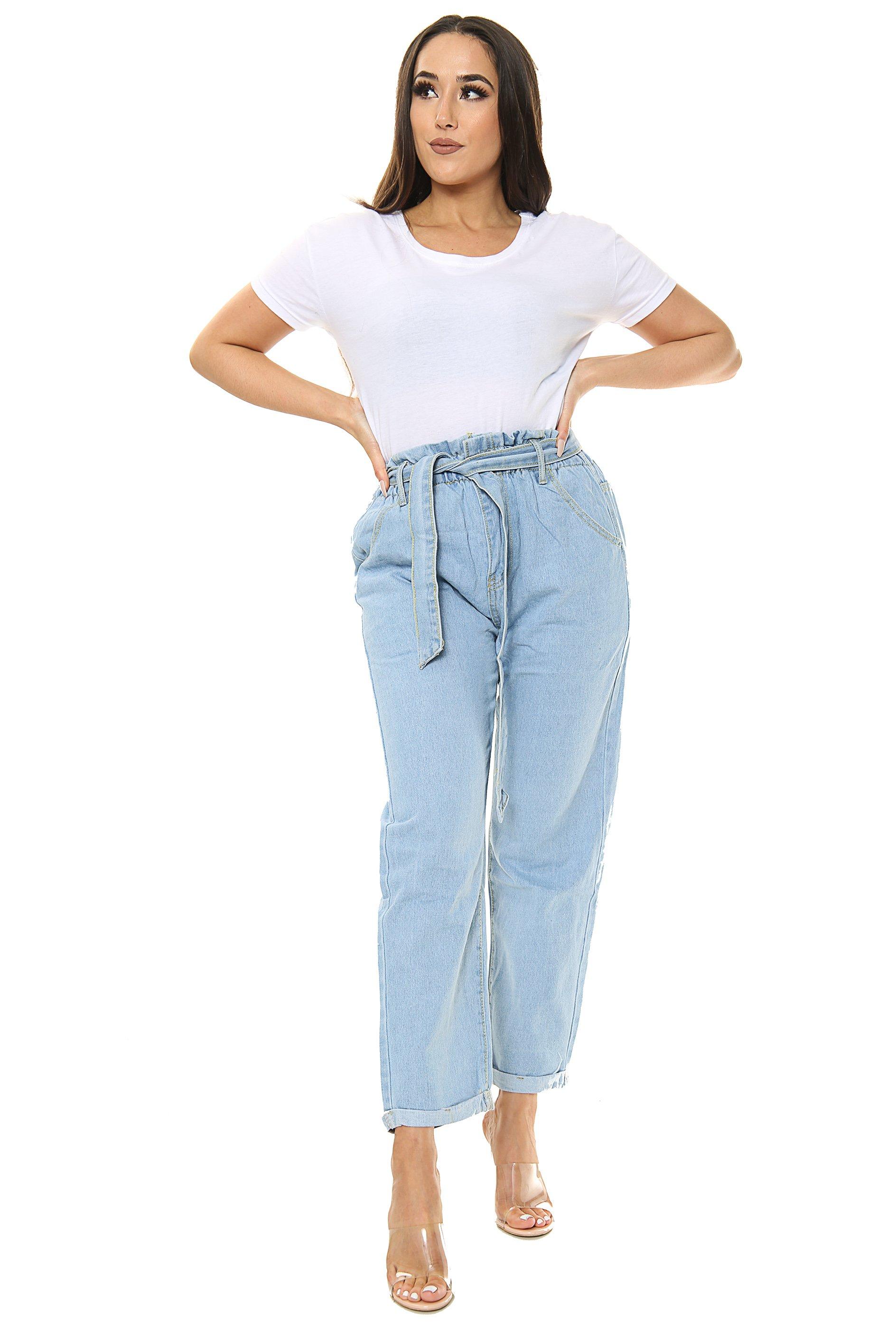 Blue Boyfriend Ladies Jeans with Belt