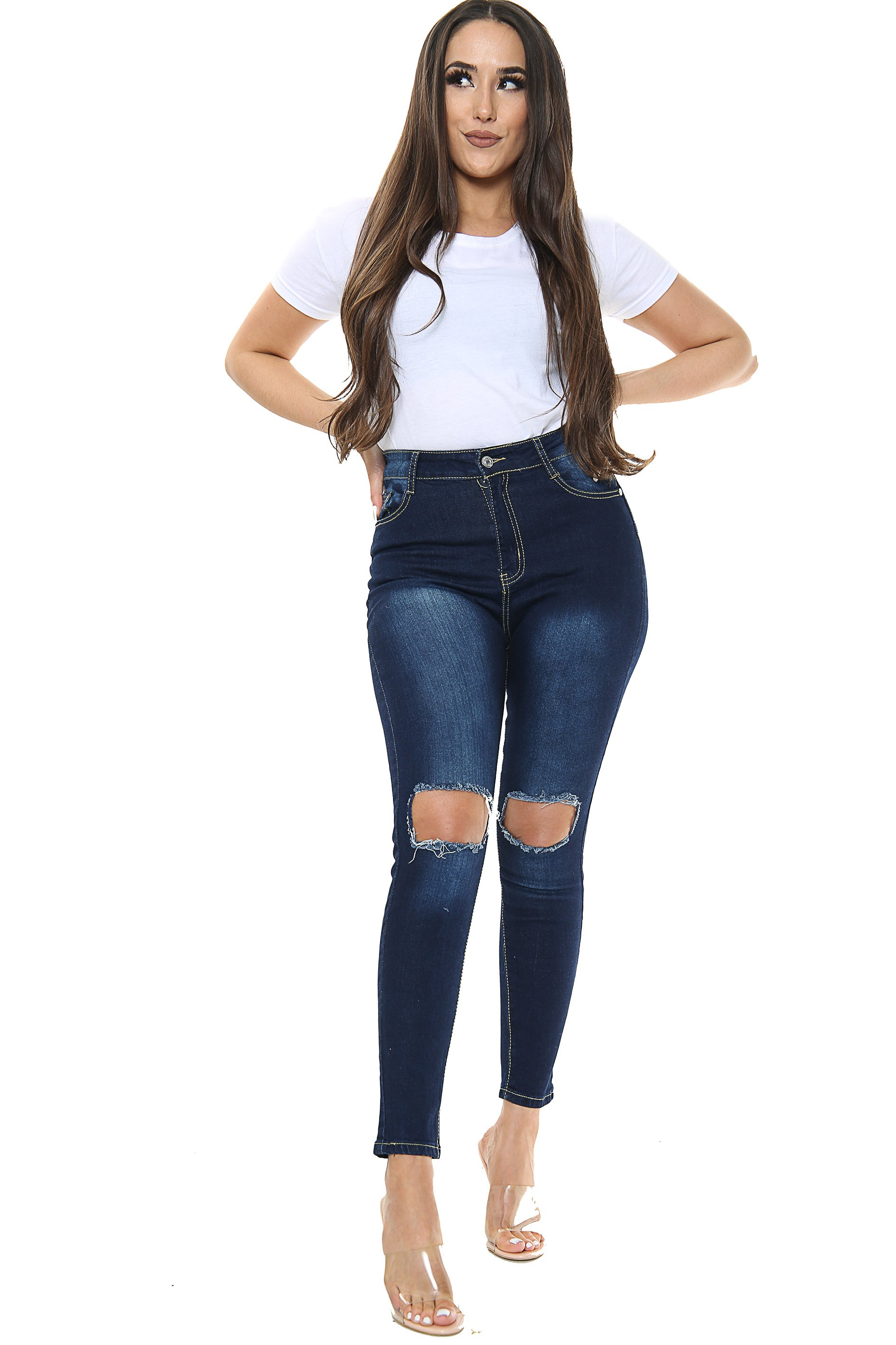 Blue denim skinny jeans in a high waisted fit with ripped front details