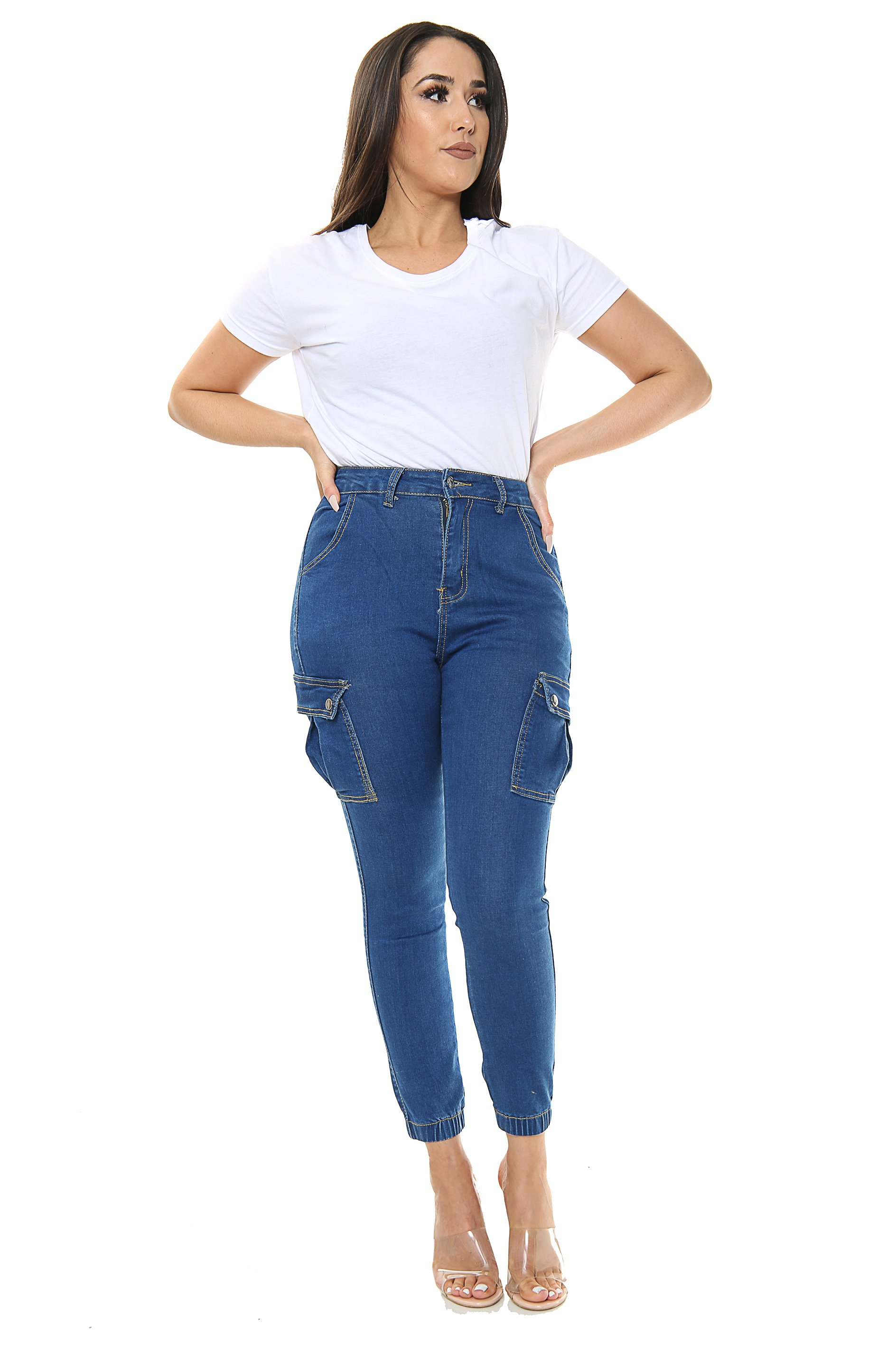 Blue Ladies High waisted Cargo Jeans