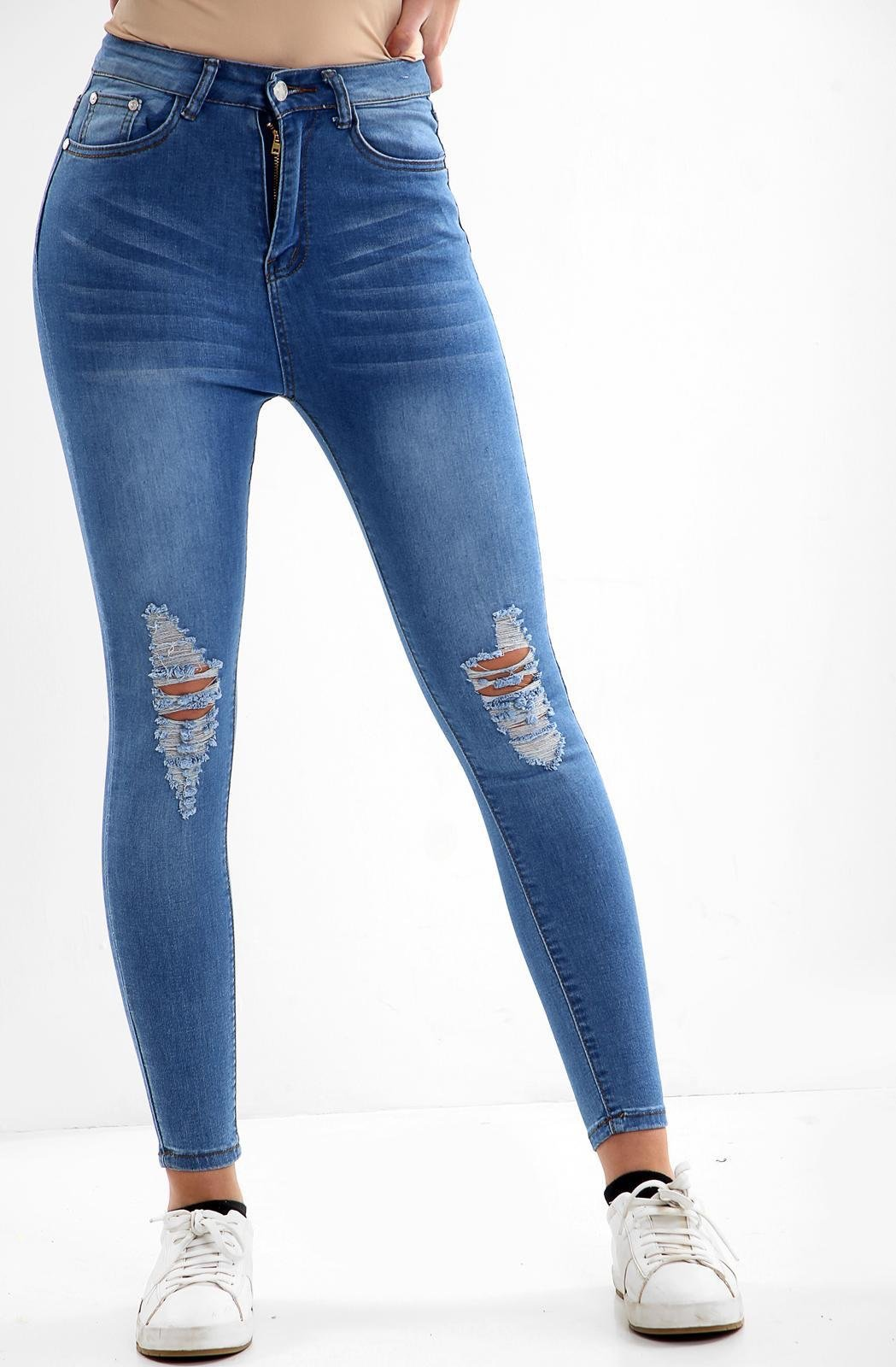 Blue Ladies High waisted knee cut jeans-DW1121