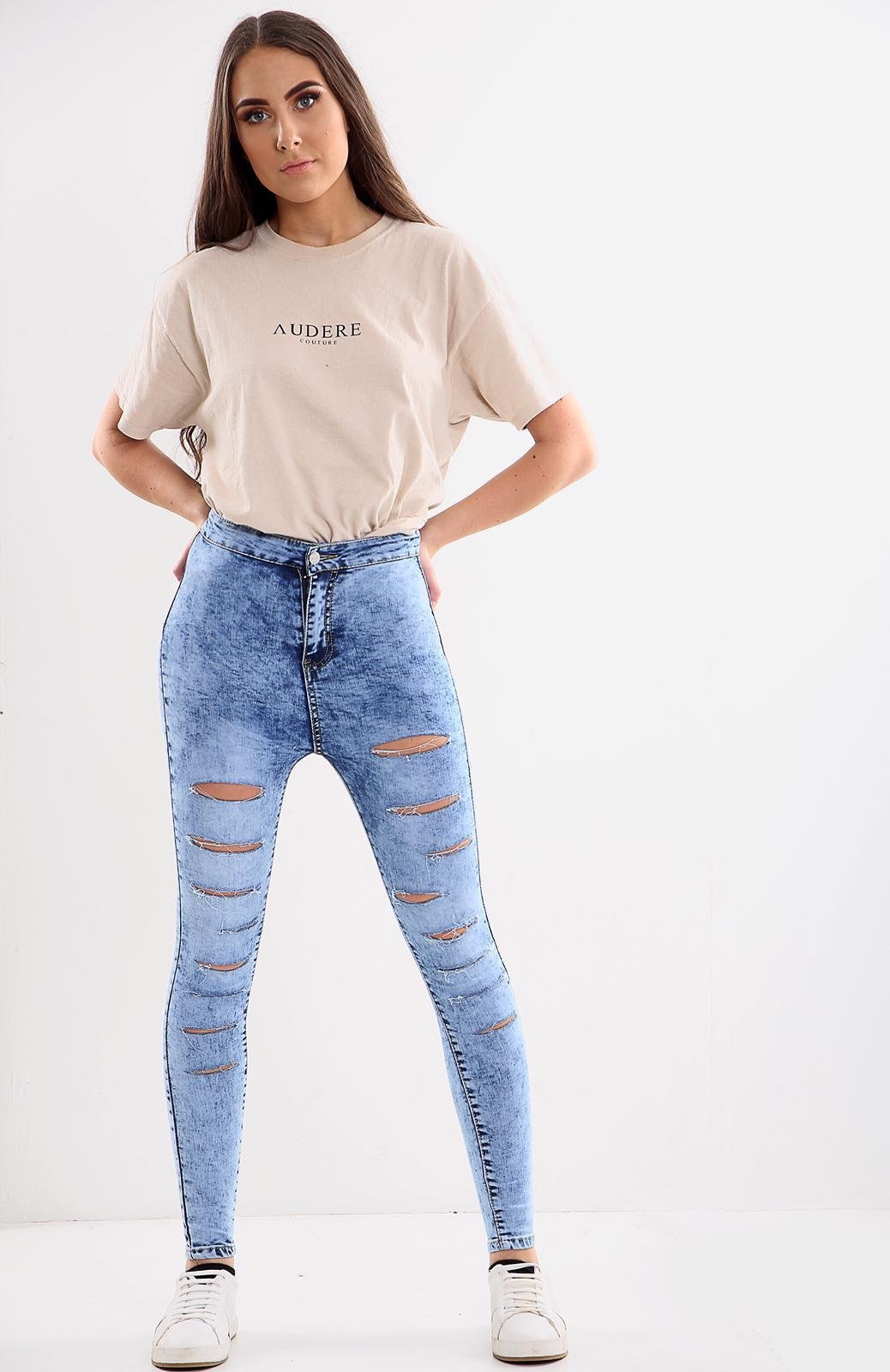 Blue Ladies High waisted multi cut jeans