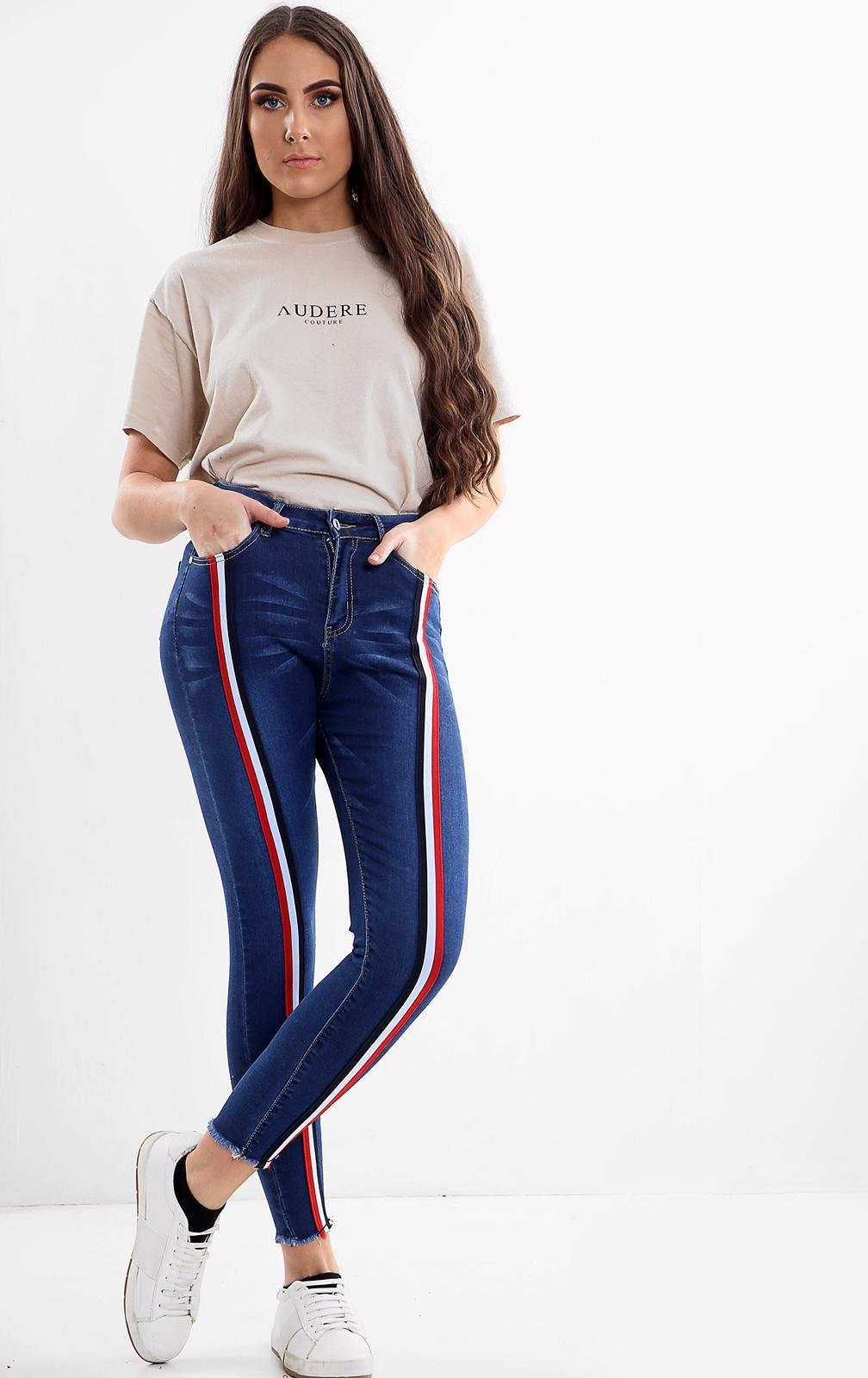 Blue Ladies High waisted stripe jeans