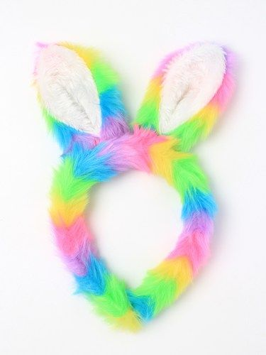 Bunny Rabbit Ears Rainbow Faux Fur Fabric Aliceband