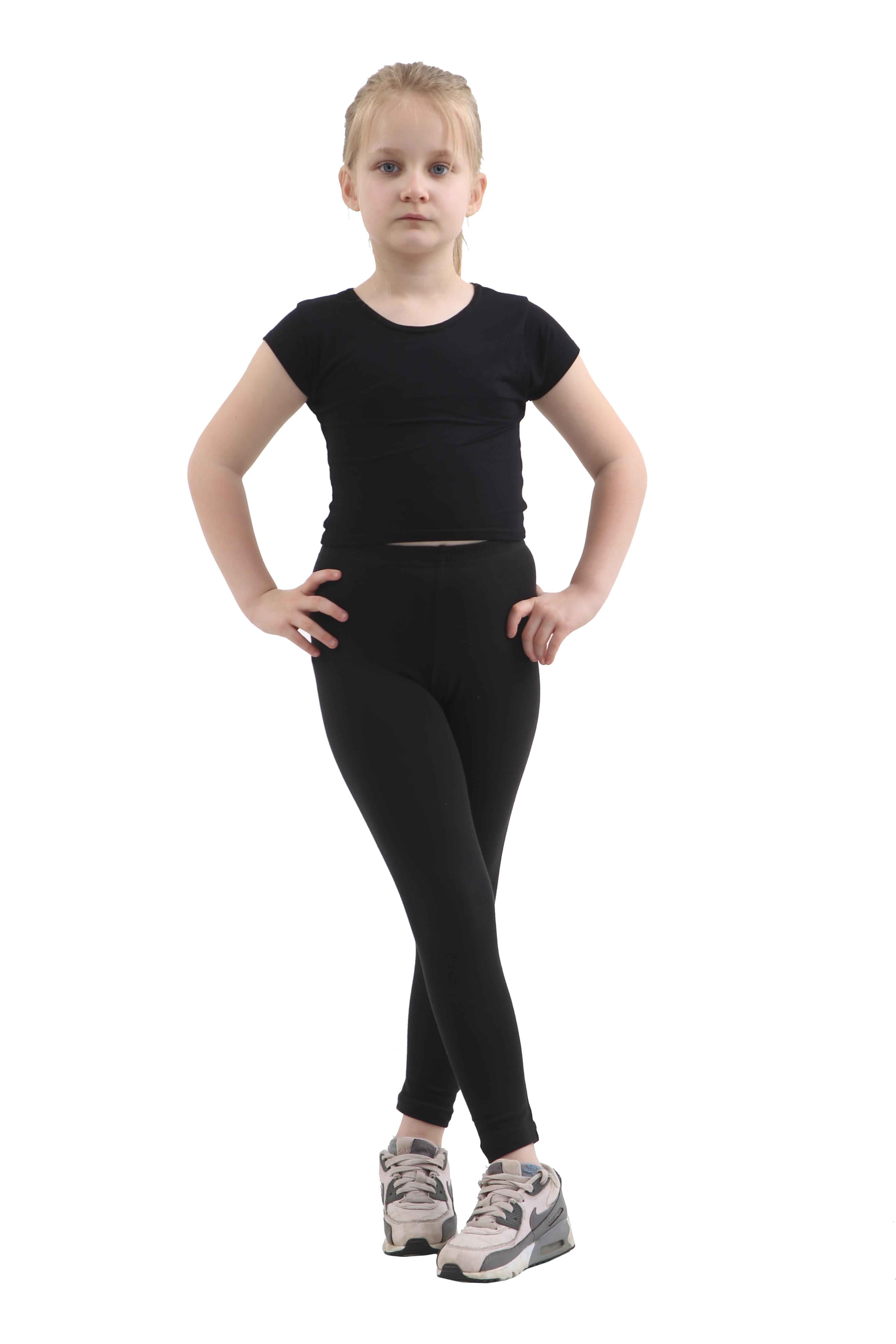 Children Black Cotton Leggings Full Length