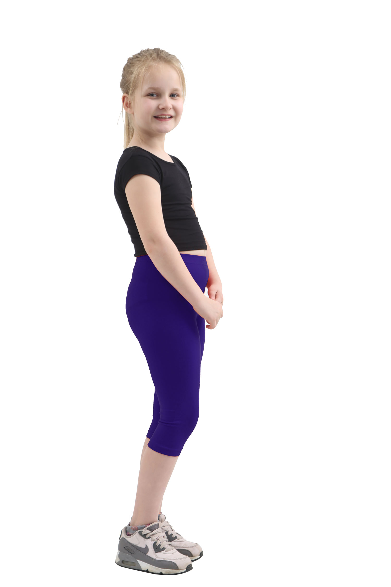 Children Navy Cotton Leggings 3/4 Length