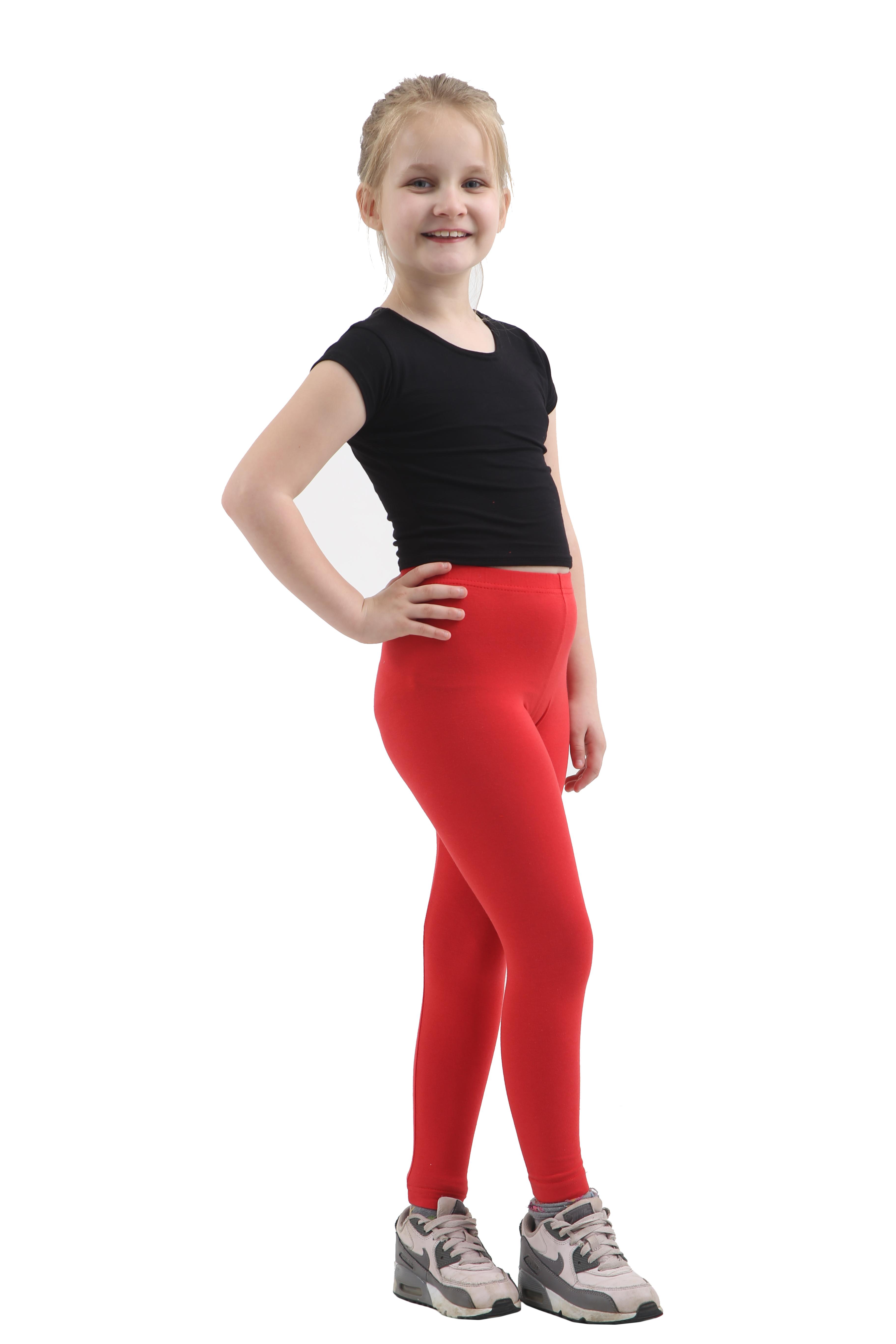 Children Red Cotton Leggings Full Length