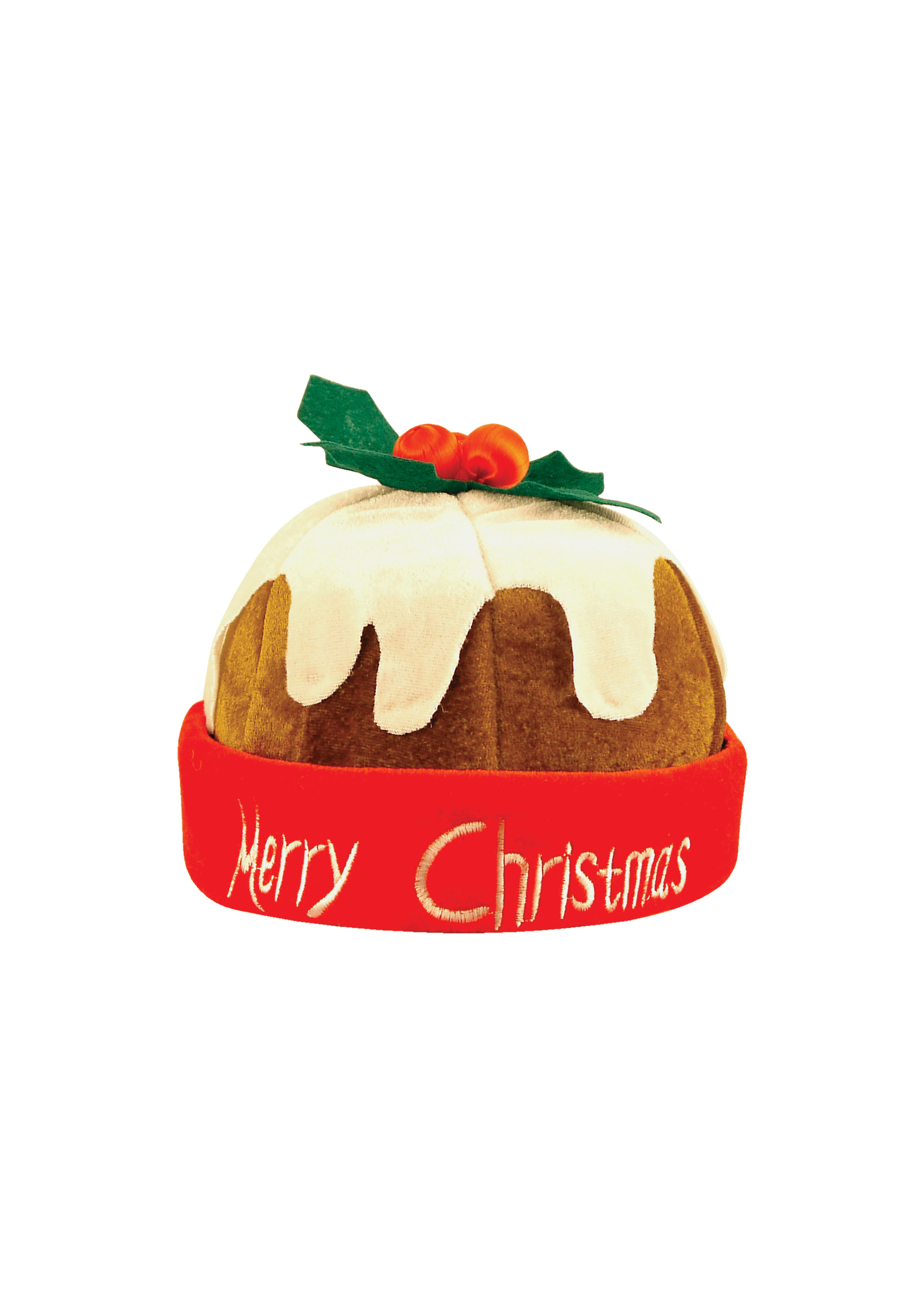 Christmas Adult Pudding Hat with Holly