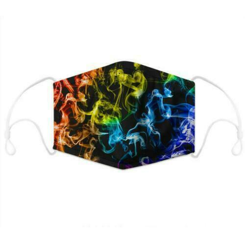 Color Toxic Smoke Print Face Mask With Filter Pocket