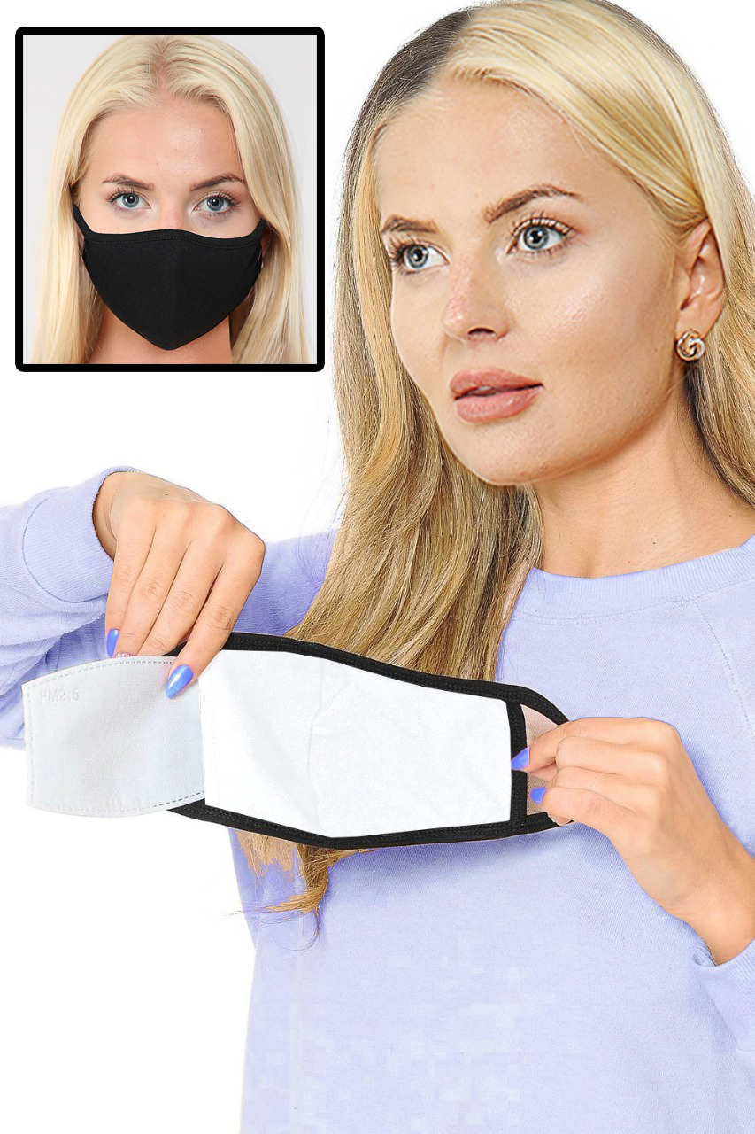 Cotton Black 2 Ply Face Masks with filter pocket