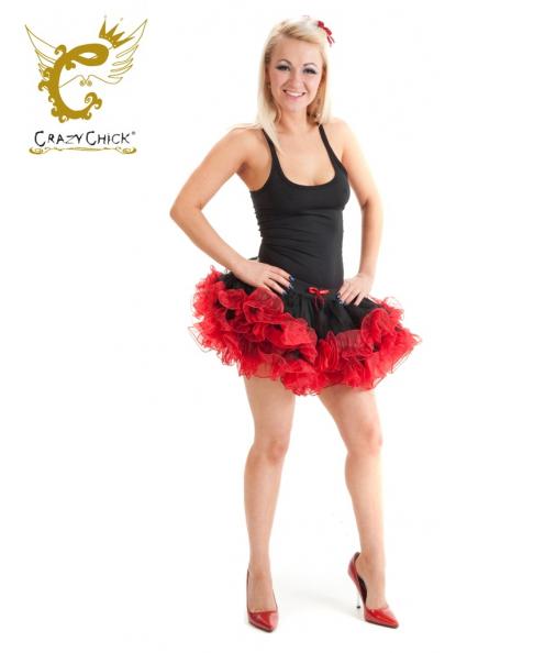 Crazy Chick 2 Layers Black Red Short Ruffle Vampire TuTu Skirt
